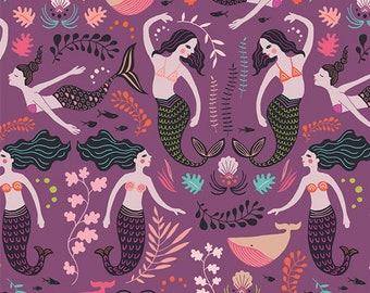 LAST PIECE - 2 yards 32 inches  - Art Gallery Fabric - Sirena  - Orchid Siren Song - Cotton Woven Fabric - Price per yard