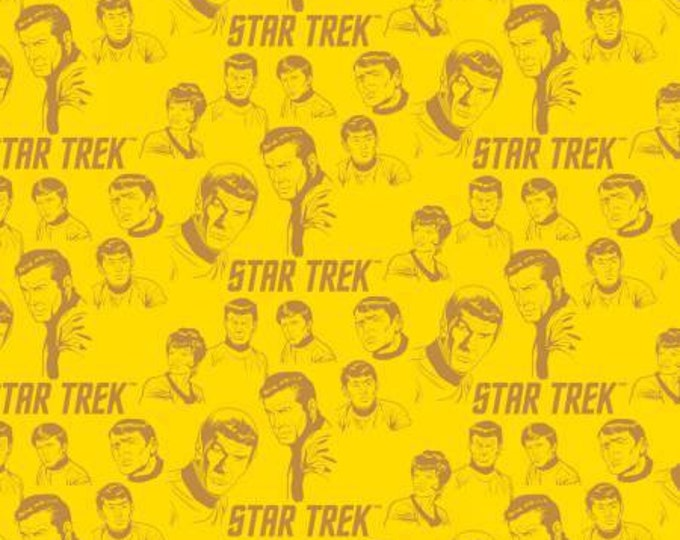 Sunshine Yellow Star Trek The Crew Cotton Woven by Camelot Fabrics