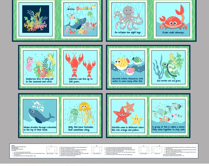 Sea Buddies - Book Panel - 36 Inch Cotton Woven Fabric Panel - Blank Quilting 9307P-90