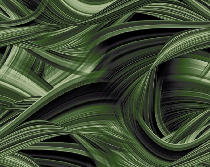 """Blank Quilting - Sedona Waves - Green 9537-66   108"""" Wideback Cotton Woven Fabric"""