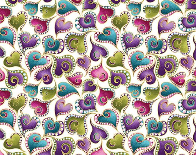 Cat-i-tude - Swirling Hearts on White - Benartex - Cotton Woven Fabric
