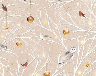 CLEARANCE -      Woodland Wonders  Branch Toss light khaki Cotton Woven metallic Fabric