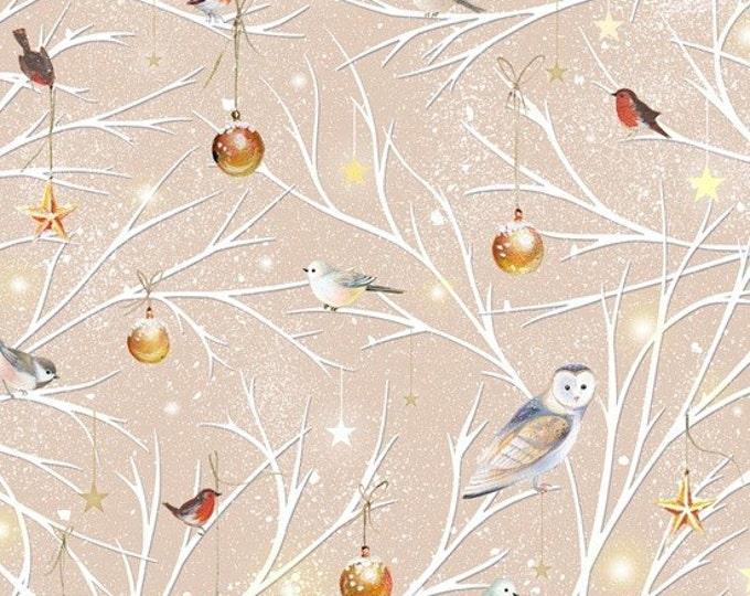 SALE !!! Woodland Wonders  Branch Toss light khaki Cotton Woven metallic by Quilting Treasures