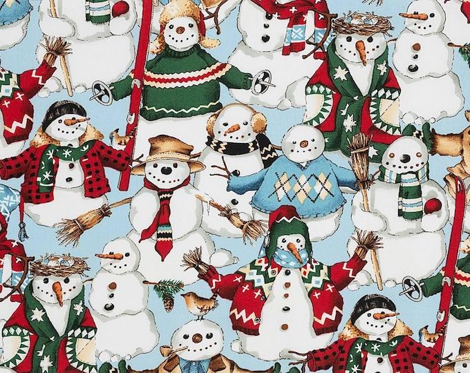 Alexander Henry Fabrics - Christmas Time - Light Blue Snow Friends #147c - Cotton Woven Fabric