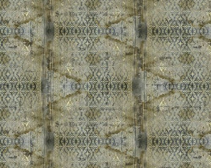 Free Spirit - Eclectic Elements - Abandoned by Tim Holtz - Stained Damask - Neutral PWTH133.NEUTRAL - Cotton Woven Fabric