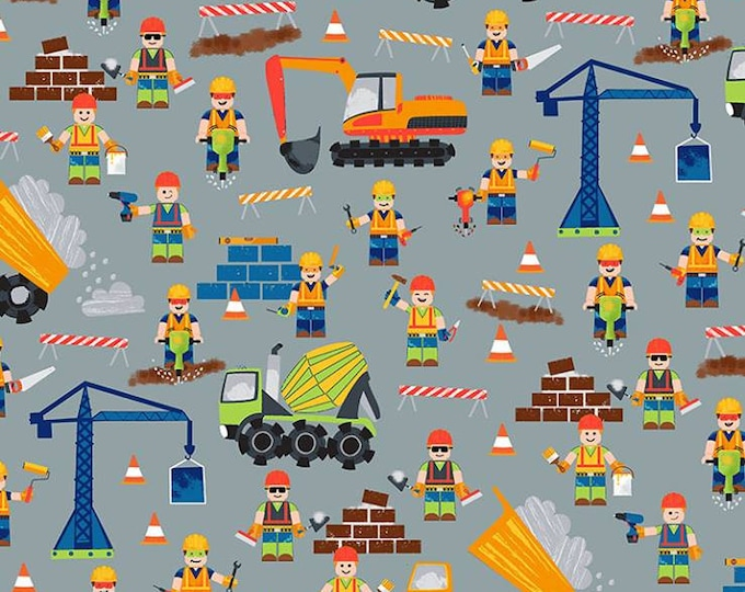 Timeless Treasures - Construction Site Construction Workers on Gray cotton woven