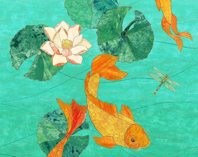 22345M-63 Metallic Cotton Woven Fabric - Shimmer Koi Pond by Karen Sikie for Northcott Fabrics 24 Inch Cotton Woven Fabric Panel