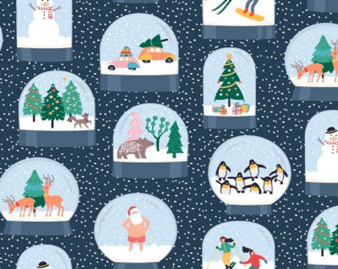 Snow Globes Christmas Cotton Woven Fabric