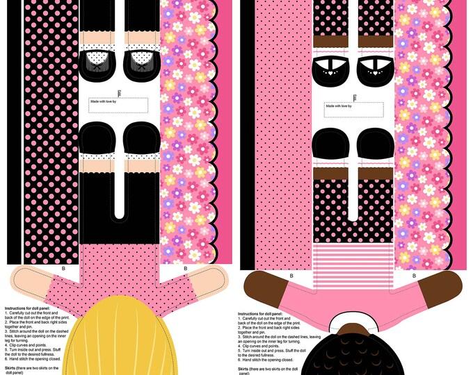 Northcott Fabrics - Girls of The World - Girls Stuffed Doll Panel - Pink - 24 Inch Panel 22339-23 Cotton Woven Fabric