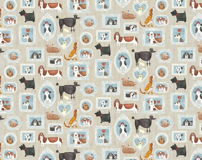You Had Me At Woof - Framed Woof - Cotton Woven Fabric - Northcott 22167-12