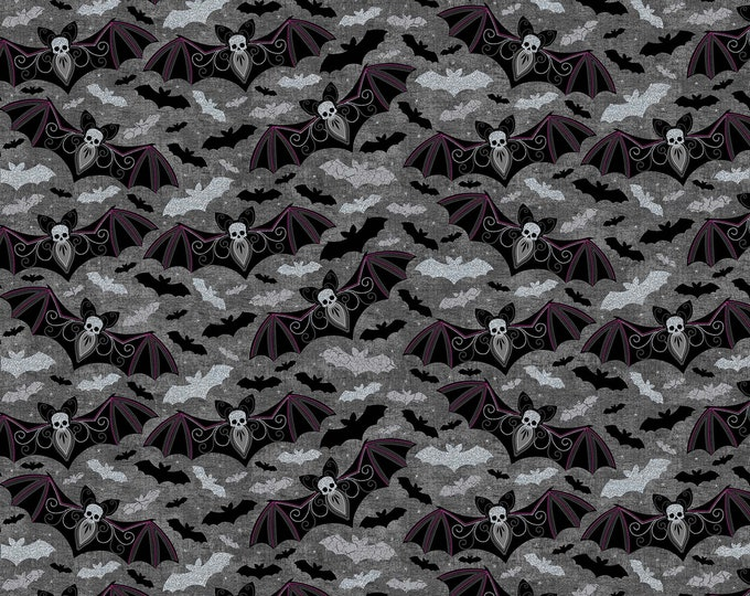 Northcott - Elegantly Frightful - Glitter Bats on Black - Cotton Woven Fabric GL22198-96