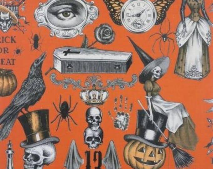 Trickery Orange Cotton Woven fabric by Alexander Henry fabrics