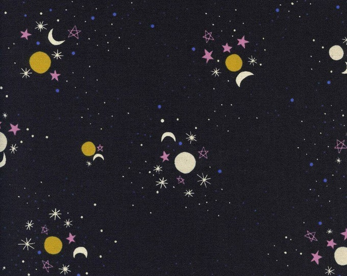 Black Sun, Moon & Stars Cotton Woven Fabric - Eclipse by Cotton + Steel