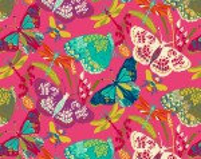 Butterfly Dance, Pink Butterfly Dance cotton fabric