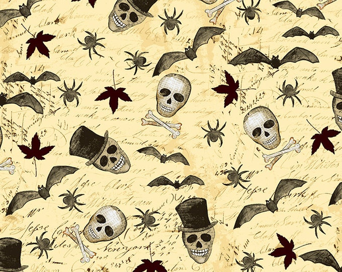 Clothworks - Something Wicked - Wicked Motif on Pale  y2427-59 Cotton Woven Fabric