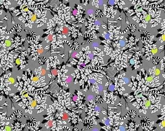 Free Spirit Fabrics - Tula Pink - Linework - Lemur Me Alone - Ink PWTP154.INK - Cotton Woven Fabric