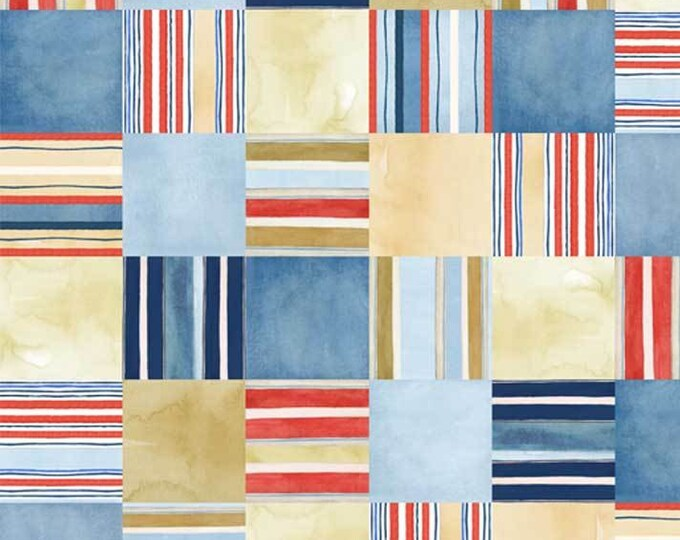 P & B Textiles - Coastal Kitty and Hot Dogs by World Art Group - Multi Stripe Squares #HOTD3074MU Cotton Woven Fabric