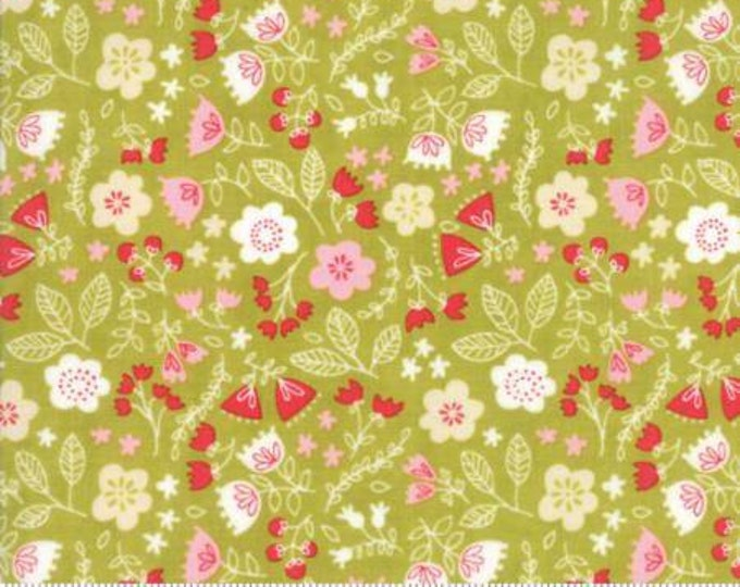 Moda Fabric - Just Another Walk in the Woods - Toss the Garden Green Cotton Woven Fabric
