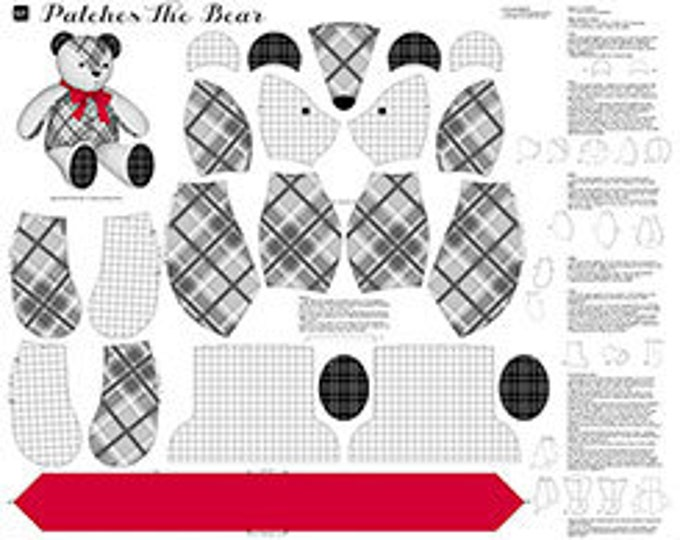 Quilting Treasures - Sew and Go - Stuffed Animal Panel  Patches the Bear in Gray Cotton Woven Fabric