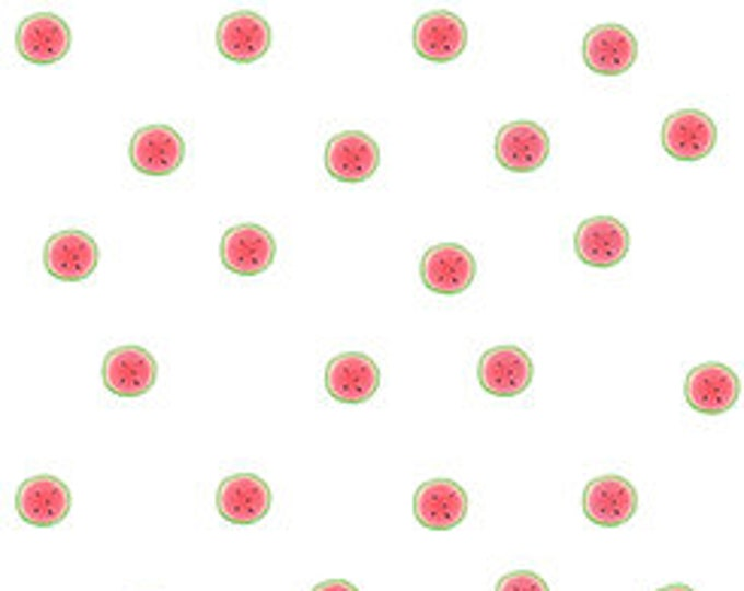 Quilting Treasures - Melon Drop - Santoro Gorjus Watermelon Dots on White Cotton Woven Fabric