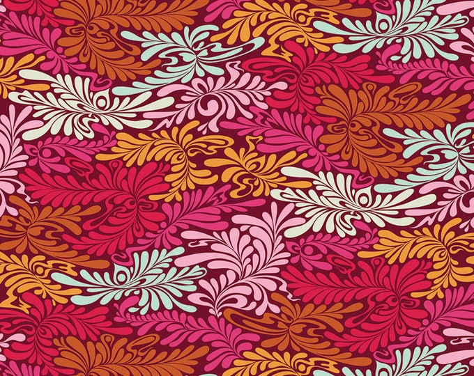 Tula Pink - Moonshine - Cameo Deluxe Strawberry red and pink Cotton Woven Fabric - OUT OF PRINT !