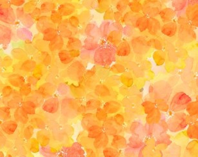 Quilting Treasures - Sun Kissed Floral -  Dark Yellow Clusters Cotton Woven Fabric