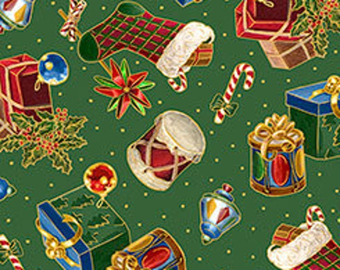 Quilting Treasures - Christmas Eve - Presents & Stockings on Green - Metallic Cotton Woven Fabric