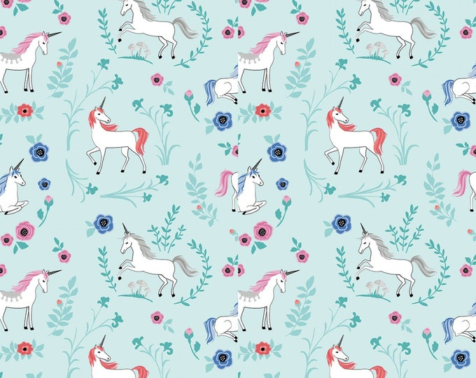 Riley Blake - My Unicorn by Kelly Panacci -Garden Teal with Sparkle   #SC8202R-TEAL Cotton Woven Fabric