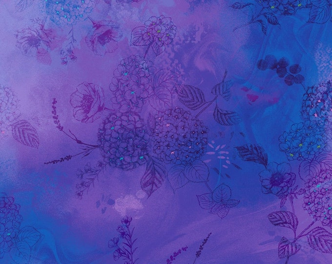 Timeless Treasures - Violet Floral Tonal   #CD6840-VLT Digitally Printed Cotton Woven Fabric