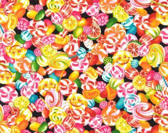 Hard Candy, Peppermint, Lollipops on Black Cotton Woven by Lecien fabrics