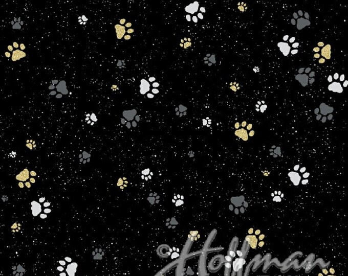 Hoffman Cats - Gold Pawprints on Black - Metallic Cotton Woven Fabric