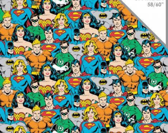 Camelot Fabrics - DC Comics -  Super Hero Crowd Cotton Spandex Knit fabric