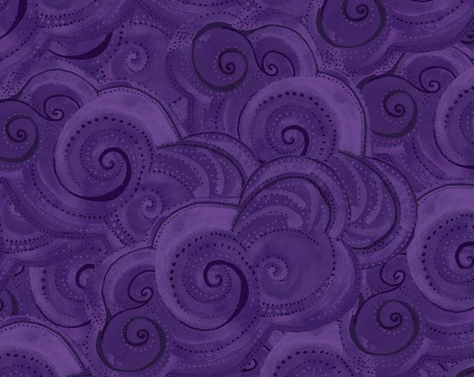 Clothworks  - Sea Goddess by Laurel Burch - Dark Purple Geo  # Y2602-28 Cotton Woven Fabric