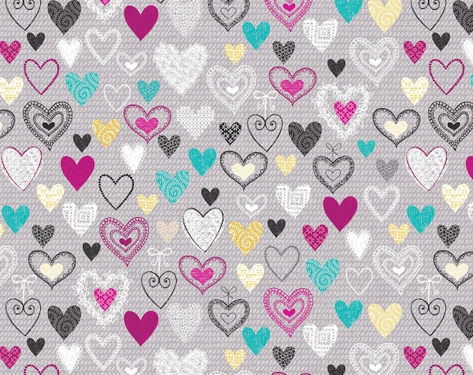 KANVAS STUDIO - Knit Together - Grey Knit Together Hearts # 7873B-11 Cotton Woven Fabric