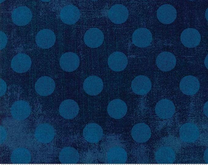 Moda Fabric - Grunge Dot -  Navy  cotton woven fabric
