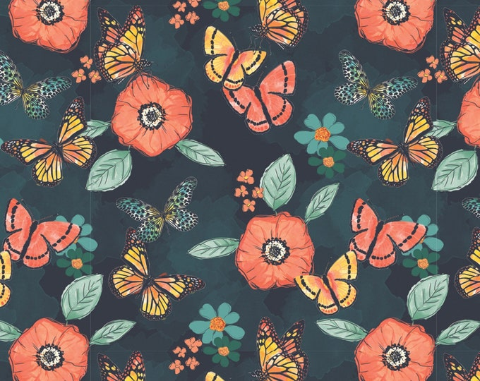 Camelot Fabric - Monarch Grove by Sara B - Blue Flowers  # 26170503J-2 Digitally Printed Cotton Woven Fabric