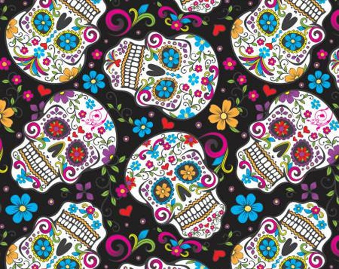 CLEARANCE -     Black Folkloric Sugar Skulls cotton fabric - price is per yard.