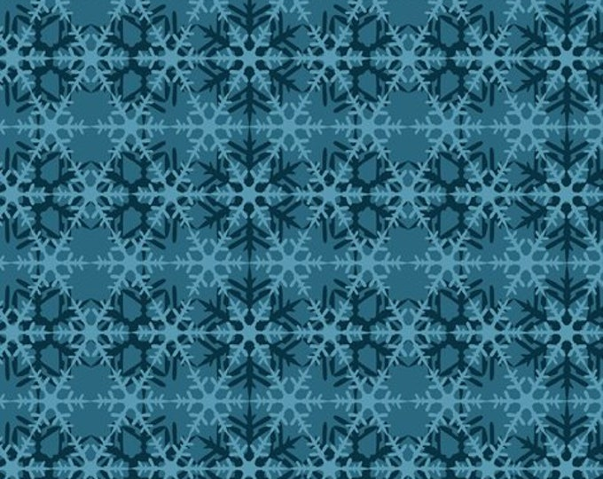 Jason Yenter Celestial Winter - Snowflakes Tonal - Teal - Cotton Woven Fabric 8ACW-1