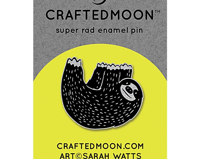"Fun Stuff -Moda Fabrics -  Ruby Star Society CRAFTEDMOON Enamel Pins - Mister Sloth CM ENP 007 - 1.25"""