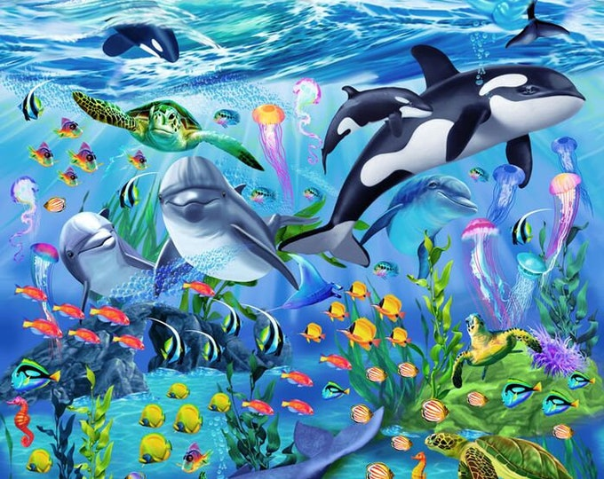 Sealife Panel with dolphins, sharks, and coral reef cotton fabric panel 24 inches