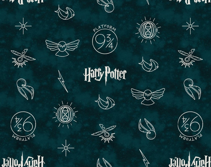 Camelot Fabric - Licensed Wizarding World - Dark Teal Symbols Harry Potter # 23800137-2 Cotton Woven Fabric
