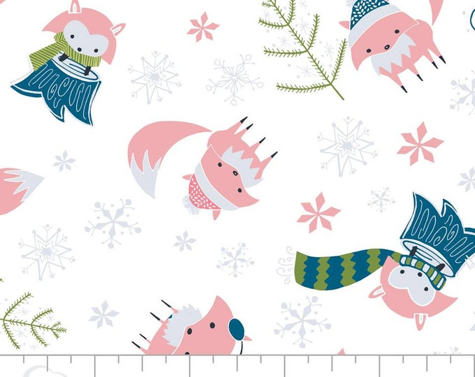 Camelot Fabric - Winter Wonderland -  Pink Foxes on White Cotton Woven Fabric