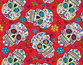 CLEARANCE -     Red Sugar Skulls cotton woven fabric - Price is per yard