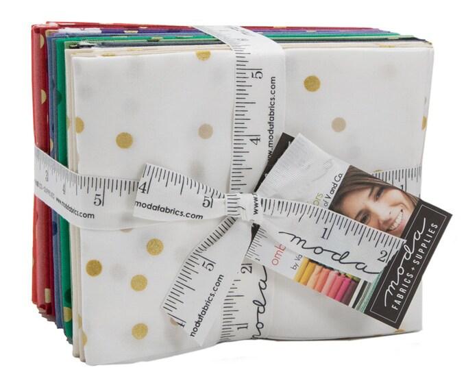Moda Fabrics - NEW Ombre Confetti Metallic 17 Fat Quarters -  10807ABMN Moda Precuts - Factory Precut Cotton Woven Fabric