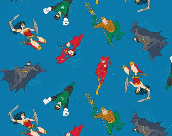 Camelot Fabric - Justice League Activated - Blue Hero Action Cotton Woven Fabric