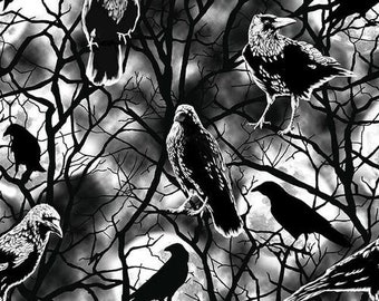 Blank Quilting - Ghoulish Gathering - Black Crows #9546G-99 Glow in the Dark Cotton Woven Fabric