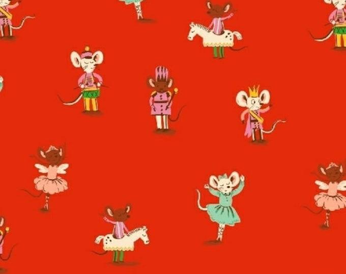 Heather Ross Sugar Plum - Nutcracker Mice - Red- Cotton Flannel