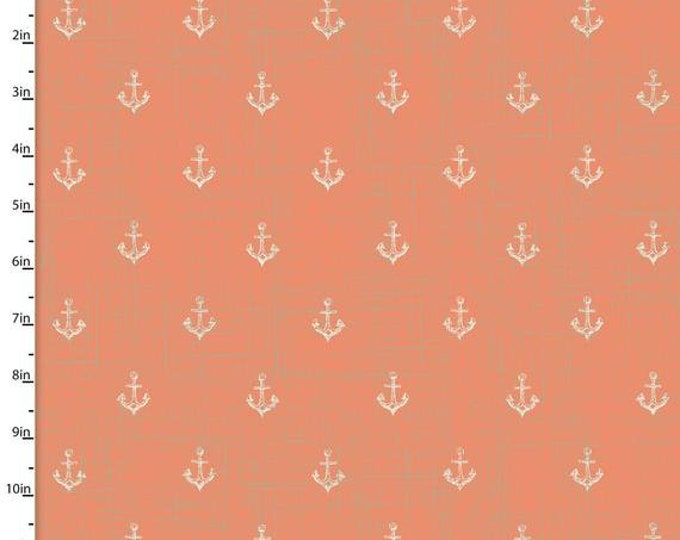 3 Wishes Fabrics - Give Me the Sea -Coral Nautical Anchors- Cotton Woven Fabric
