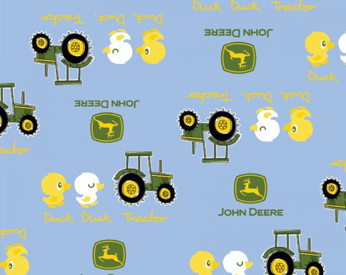 Springs Creative - Licensed John Deere Tractors - Duck Duck Toss on Blue Cotton Woven Fabric
