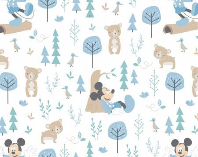 Little Bear in Blue Cotton Woven Fabrics  85270405 - Mickey and Minnie in the Meadow by Camelot Fabrics